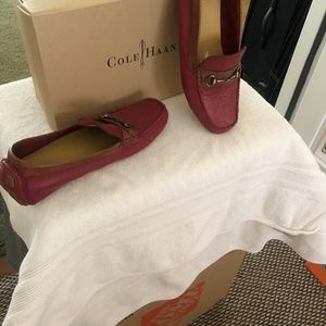 Cole Haan Driving Moccasins - Red w/Tan leather